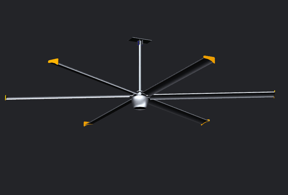 AIPUKEJI Brushless Ceiling Fan 3.8m/13 ft Big Size Silver Color With Metal Blades